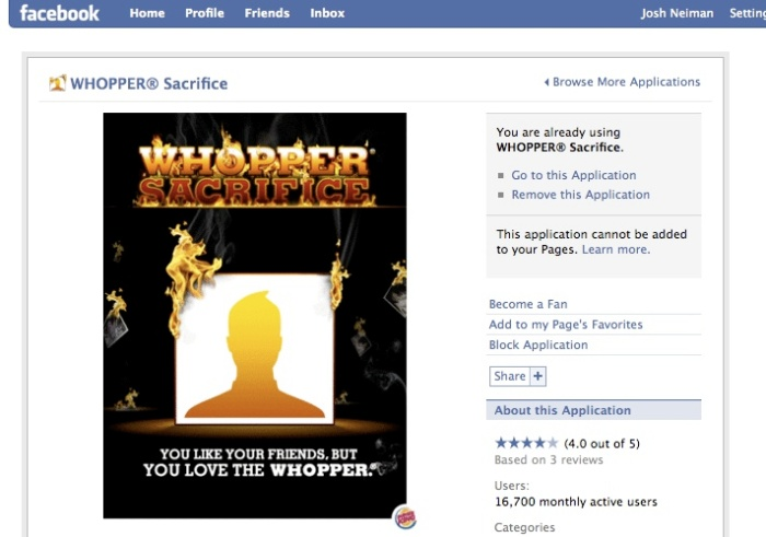 Burger King's Whopper Sacrifice Facebook App